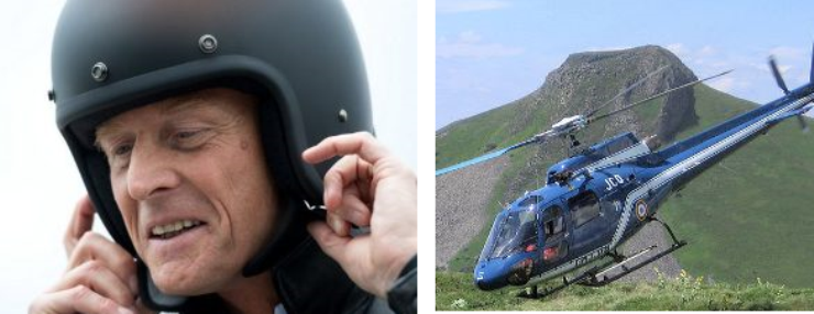 Mit einem Heli kann man die regelmäßigen Staus ins Tal gut umfliegen / Bildquelle: Links: Sven Hoppe – dpa, rechts: Fabien1309/Wikipedia/ CC BY-SA 2.0 FR
