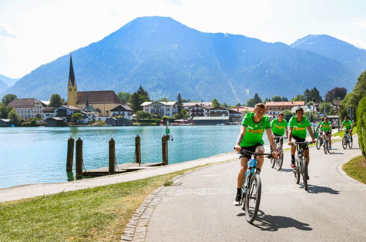 ROTTACH-EGERN, GERMANY - July 16: Team of Borussia Moenchengladbachat at a mountainbike tour at day four of Borussia Moenchengladbach training camp on July 16, 2015 in Rottach-Egern, Germany. (Photo by Christian Verheyen/Borussia Moenchengladbach via Getty Images)