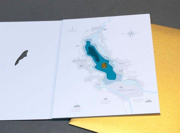 Gmund Award - Schatzkarte mit aufgeklebtem Goldbarren