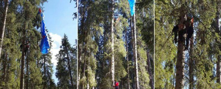 Gleitschirmflieger hängt in 30 Metern Höhe